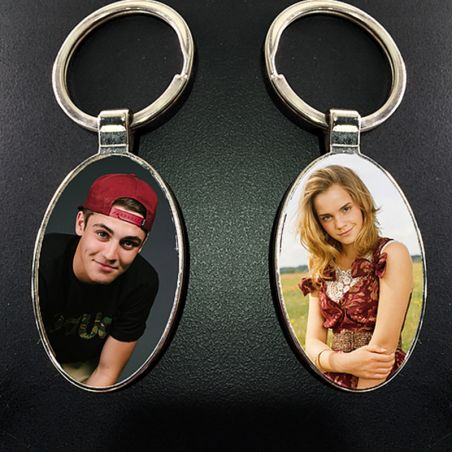 Oval Photo Key Chain double sided