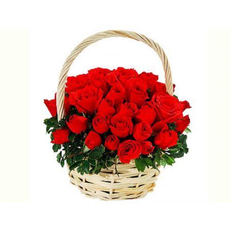 25 red rose basket