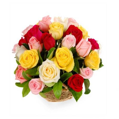 20 Mixed Roses Basket