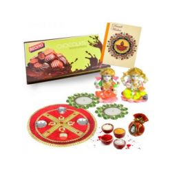 Diwali Puja thali with Chocolates