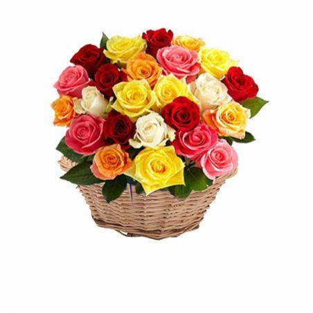 25 Multi Colour Rose Basket