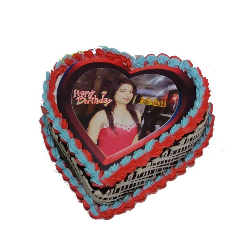 2kg Personalized Heart Shape Photo Cake