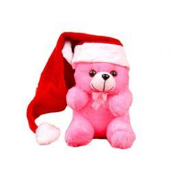 Teddy Soft Toy with Santa Cap
