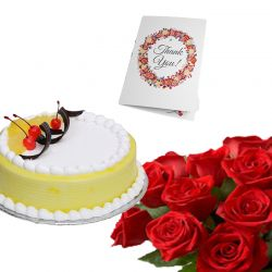 Bunch Of 20 Red Roses 500gm Cake Your Choice And Greeting Card