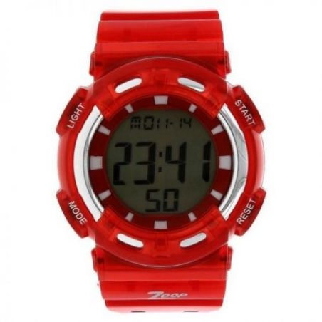 Digital watch with red plastic strap