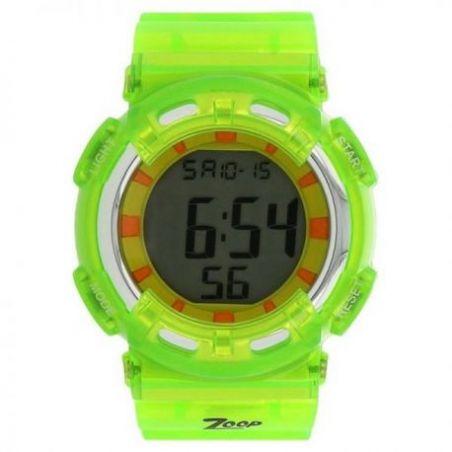 Digital watch with green strap