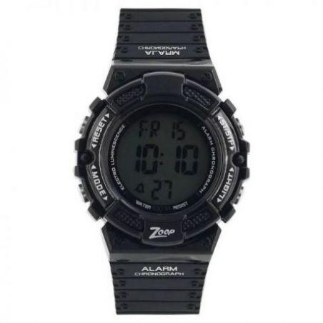 Digital watch with black plastic strap