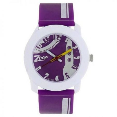 Space age purple dial analog watch