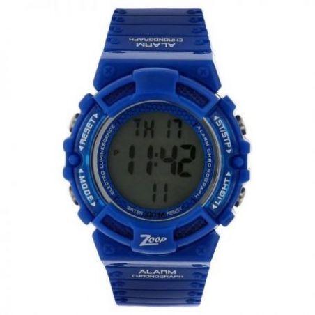Digital watch with blue plastic strap