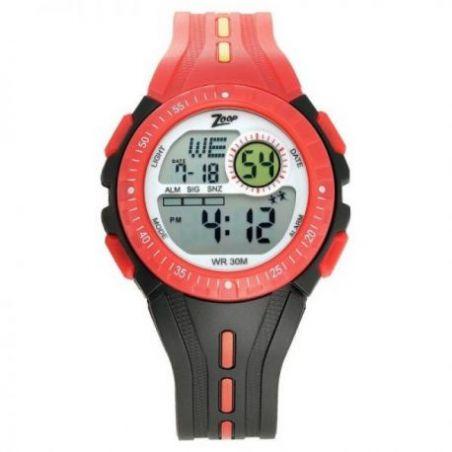 Digital watch with black strap