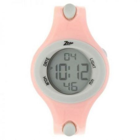 Grey dial pink plastic strap watch