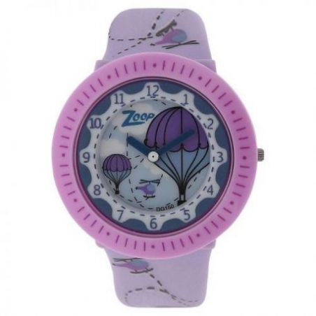 Purple dial pink plastic strap watch