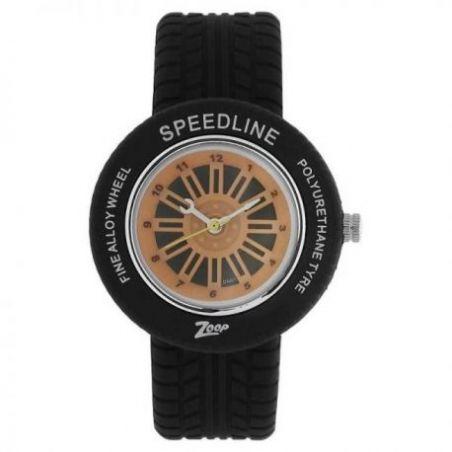 Orange dial black plastic strap watch