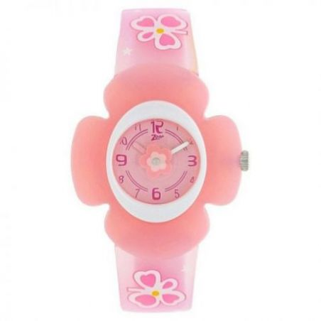 Pink dial watch with plastic case