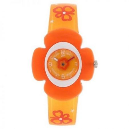 Orange dial plastic strap watch