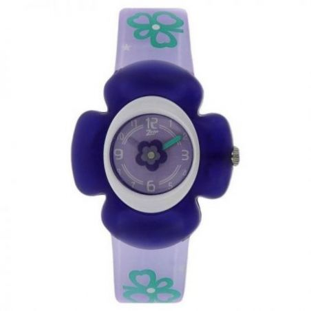 Purple dial watch with plastic case