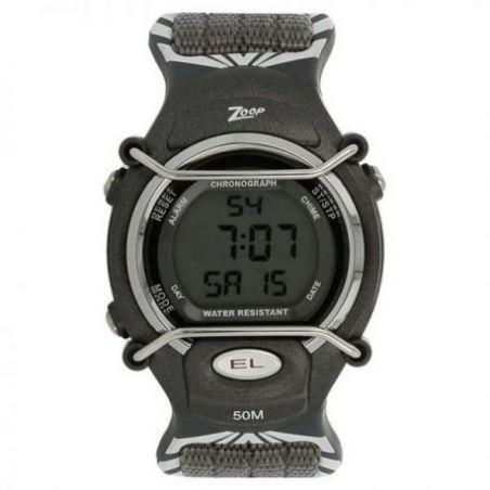 Grey dial black fabric strap watch