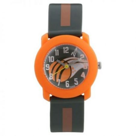 Multicoloured dial grey plastic strap watch