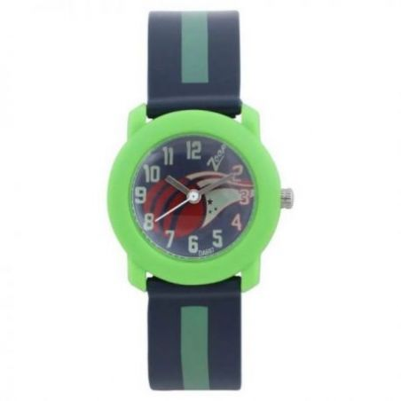Blue dial watch with plastic case