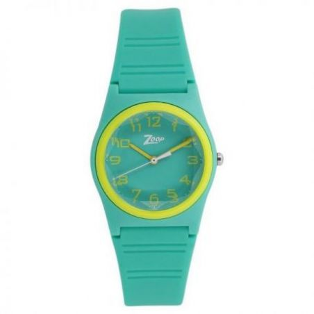 Green dial green plastic strap watch