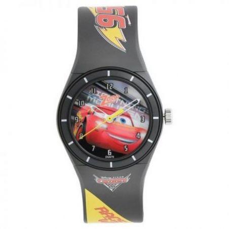 Multicoloured dial black plastic strap watch