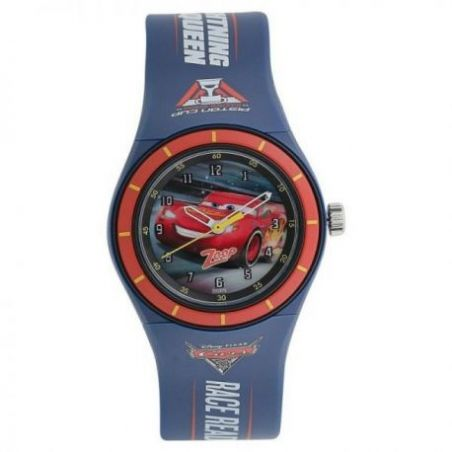 Multicoloured dial blue plastic strap watch