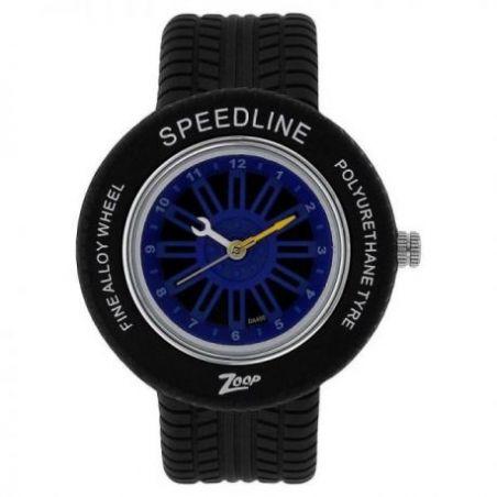 Blue dial black plastic strap watch