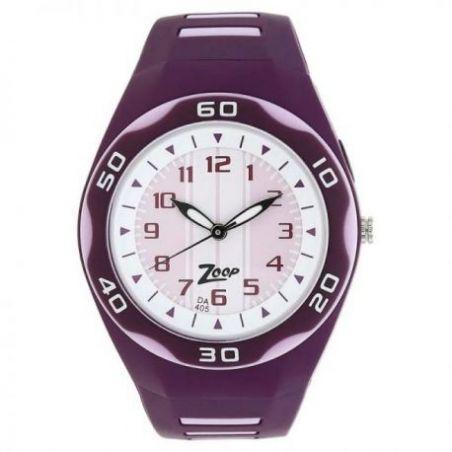 White dial purple plastic strap watch