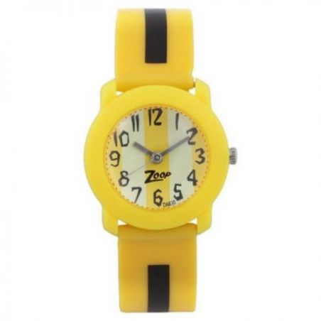 Yellow dial yellow plastic strap watch