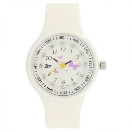 White dial watch with plastic case