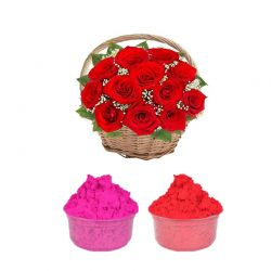 Red Rose Basket with Gulal
