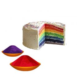 Rainbow Cake with Gulal