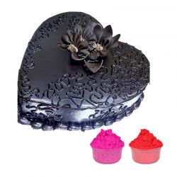 Heart Shape Cake with Gulal