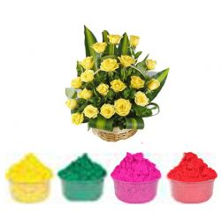 Yellow Rose Basket with Gulal