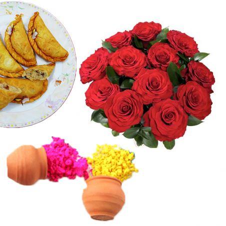 Roses n Gujia with Gulal