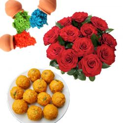 Roses n Laddu with Colors