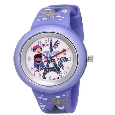 Travel White Dial Purple Zoop Watch