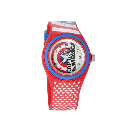Captain America Red Dial Analog Watch with Red Plastic Strap