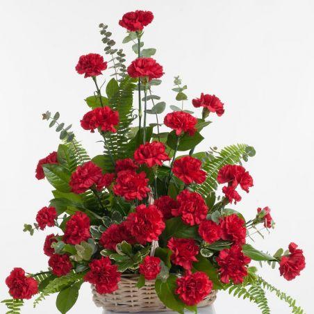 20 Red Carnations Basket