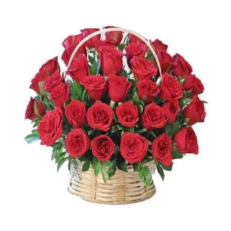 30 Red Rose Basket
