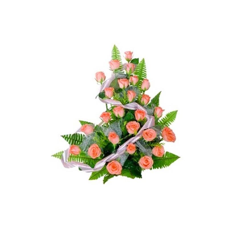 25 Peach Rose Basket