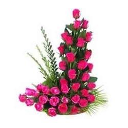 40 Mixed Roses Basket