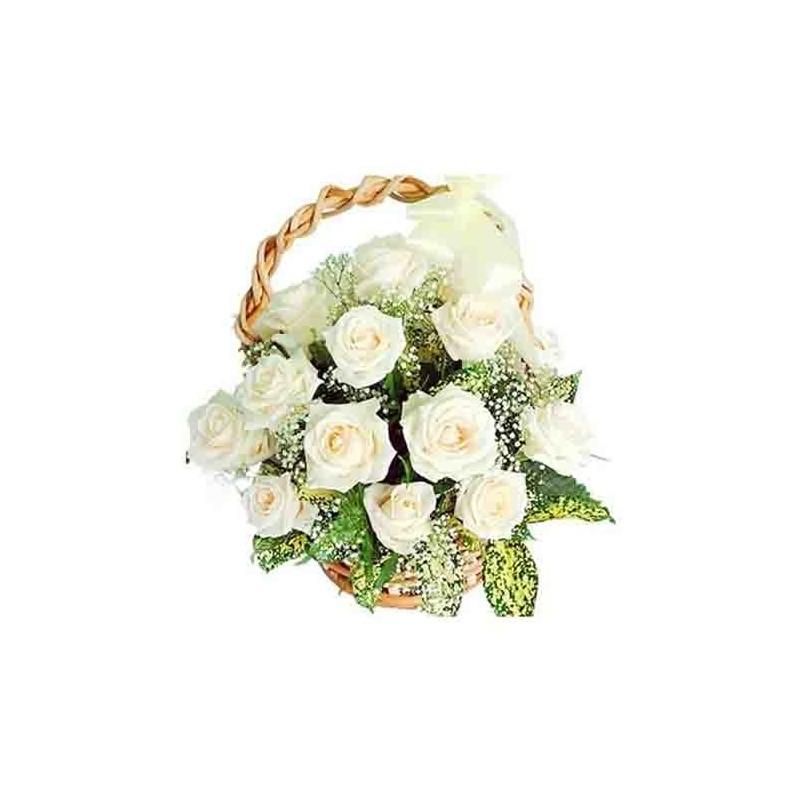 12 White Roses Basket