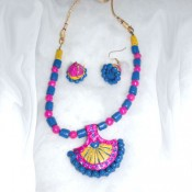 Pink and Blue Terracotta Jewel