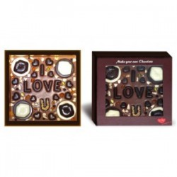 I Love You chocolate with hearts