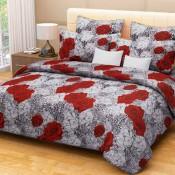 Red floral bedsheet