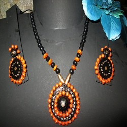 Orange -black terracotta jewel