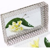 Square shaped Dry Fruit Tray with Mirror