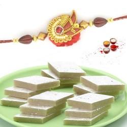 Rakhi with kaju barfi sweets