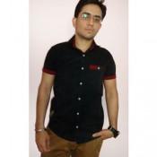 Tangy Black Casual Half Shirt